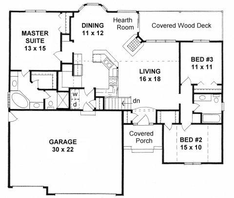 Plan # 1551 - Ranch | First floor plan