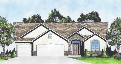 Plan # 1553 - Ranch | Large render view