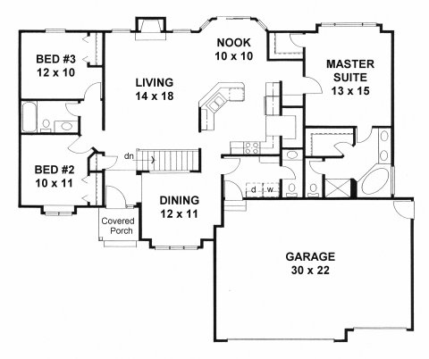 Plan # 1558 - Ranch | First floor plan
