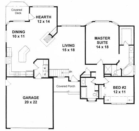 Plan # 1565 - Ranch | First floor plan