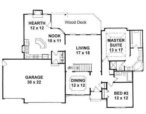 Plan # 1571 - Ranch | First floor plan