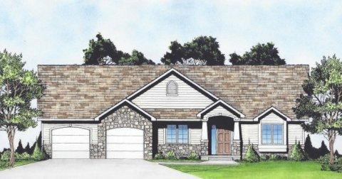 Plan # 1585 - Ranch | Large render view