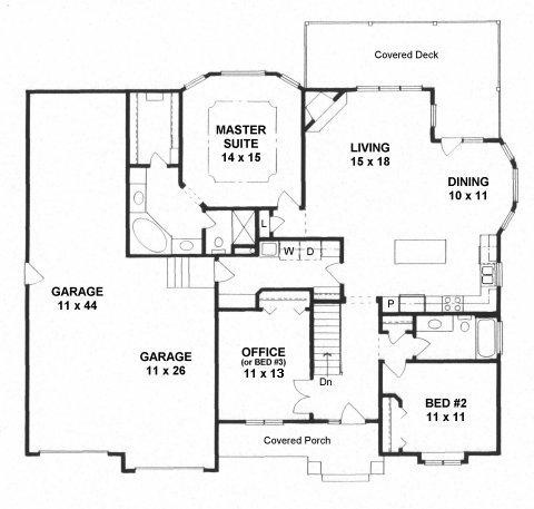 Plan # 1585 - Ranch   First floor plan