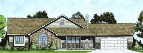 Plan # 1586 - Ranch | Large render view