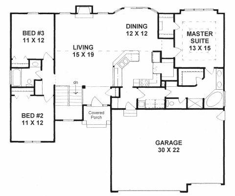 Plan # 1602 - Ranch | First floor plan