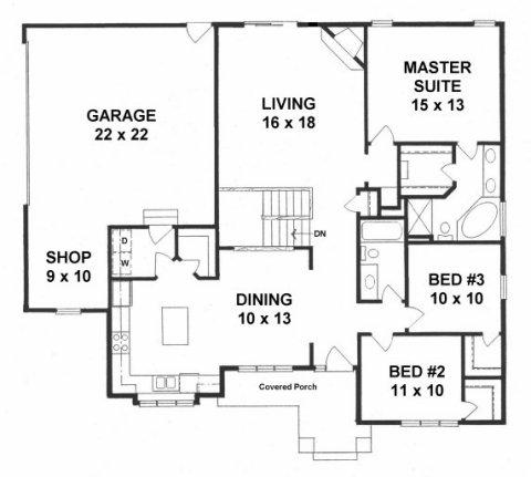 Plan # 1609 - Ranch   First floor plan