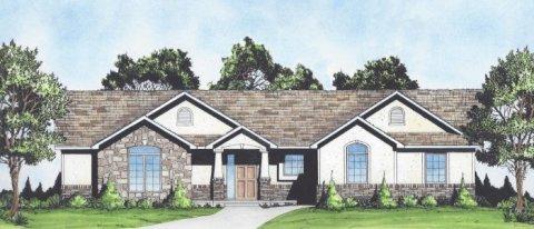 Plan # 1611 - Ranch | Large render view