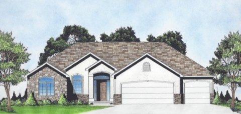 Plan # 1614 - Ranch   Large render view