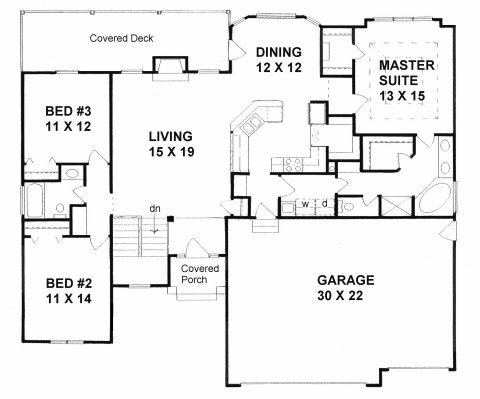 Plan # 1614 - Ranch | First floor plan