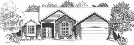 Plan # 1620 - Ranch   Large render view