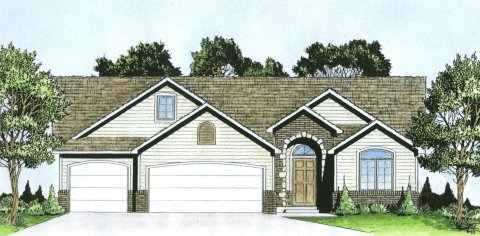 Plan # 1640 - Ranch | Large render view