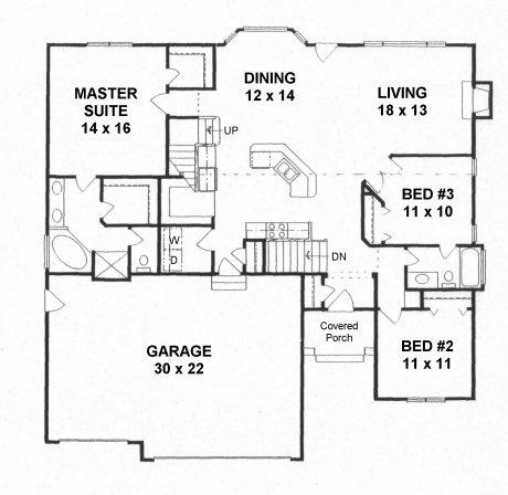 Plan # 1640 - Ranch | First floor plan