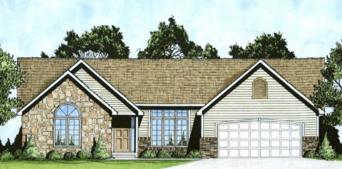 Plan # 1645 - Ranch | Large render view