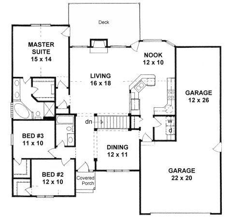 Plan # 1645 - Ranch | First floor plan