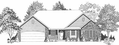 Plan # 1646 - Ranch | Large render view