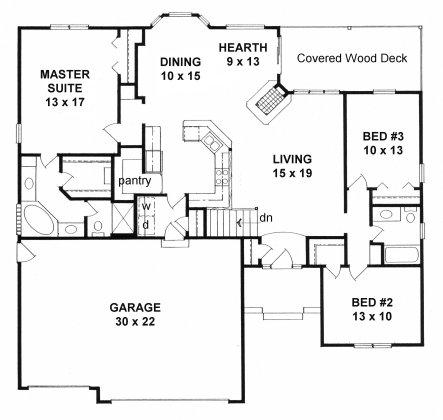 Plan # 1651 - Ranch   First floor plan