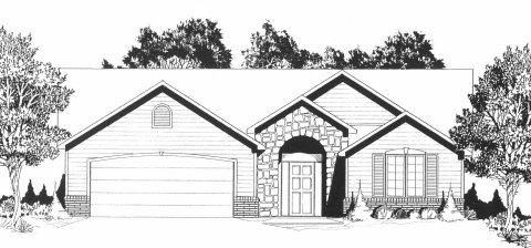 Plan # 1658 - Ranch   Large render view