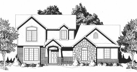 Plan # 1670 - 2 Story | Large render view