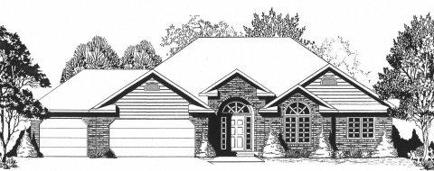Plan # 1672 - Ranch   Large render view