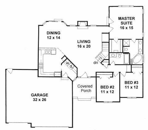 Plan # 1672 - Ranch | First floor plan