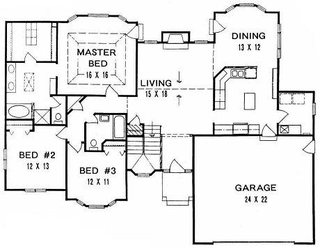 Plan # 1678 - Ranch | First floor plan