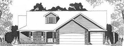 Plan # 1686 - Ranch | Large render view