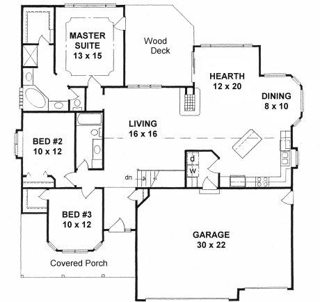 Plan # 1686 - Ranch   First floor plan