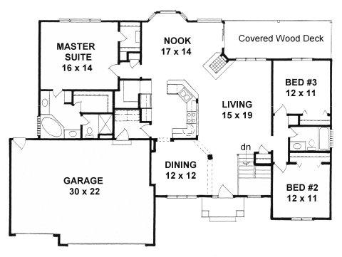 Plan # 1764 - Ranch   First floor plan