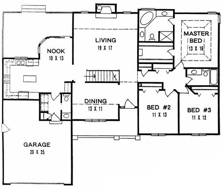 Plan # 1839 - Ranch | First floor plan