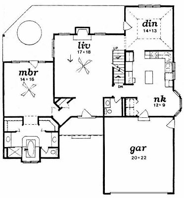 Plan # 1840 - 1 1/2 Story | First floor plan
