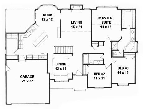 Plan # 1850 - Ranch | First floor plan