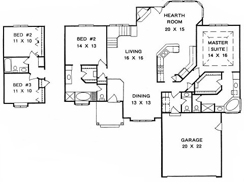 Plan # 1852 - Ranch | First floor plan