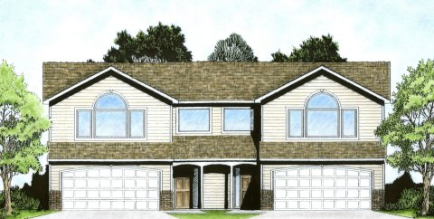 Plan # 1854 - Bi-level Duplex   Large render view