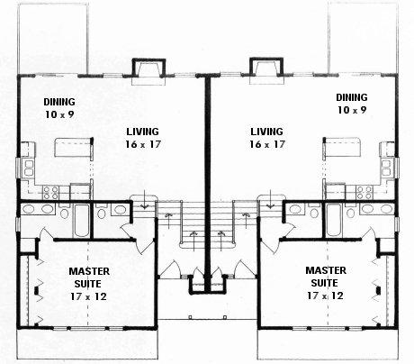 Plan # 1854 - Bi-level Duplex | First floor plan