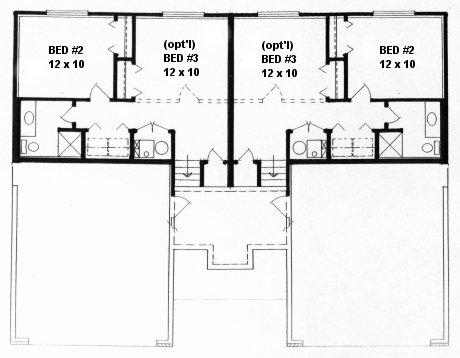 Plan # 1854 - Bi-level Duplex   Second floor plan
