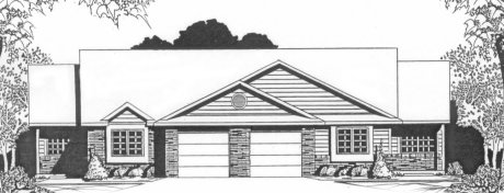 Plan # 1860 - Duplex Ranch | Large render view