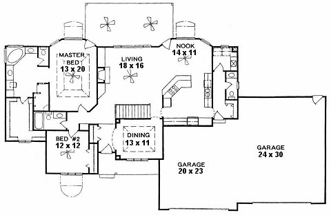 Plan # 1874 - Ranch | First floor plan