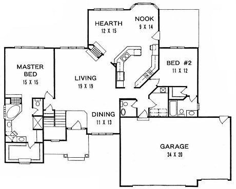 Plan # 1886 - Ranch   First floor plan