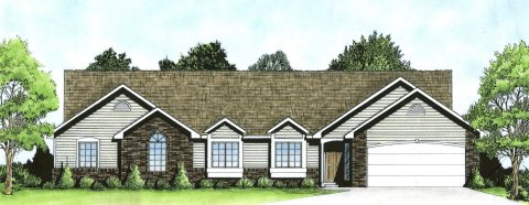 Plan # 1944 - Duplex Ranch | Large render view