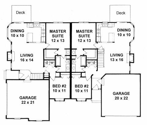 Plan # 1944 - Duplex Ranch | First floor plan