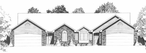 Plan # 1967 - Duplex Ranch House Plan | Large render view