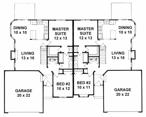 Plan # 1967 - Duplex Ranch House Plan | First floor plan