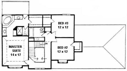 Plan # 2042 - 2 Story | Second floor plan