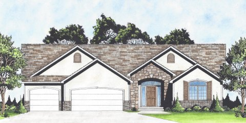 Plan # 2051 - Ranch | Large render view