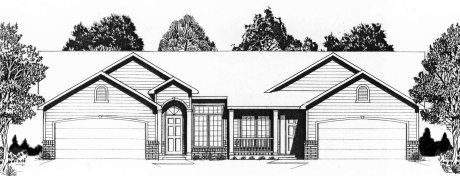 Plan # 2062 - Duplex Ranch | Large render view