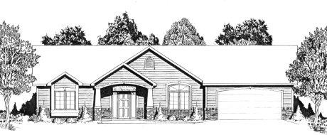 Plan # 2072 - Ranch | Large render view
