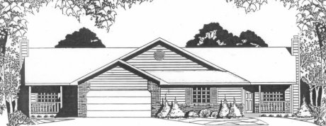 Plan # 2078 -  Duplex Ranch | Large render view