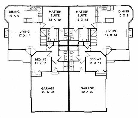 Plan # 2078 -  Duplex Ranch | First floor plan