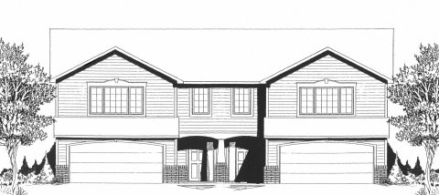 Plan # 2080 - Bi-Level Duplex Plan | Large render view