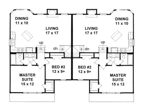 Plan # 2080 - Bi-Level Duplex Plan | First floor plan
